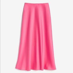 Rocky Barnes Satin Midi Skirt in Pink NWT